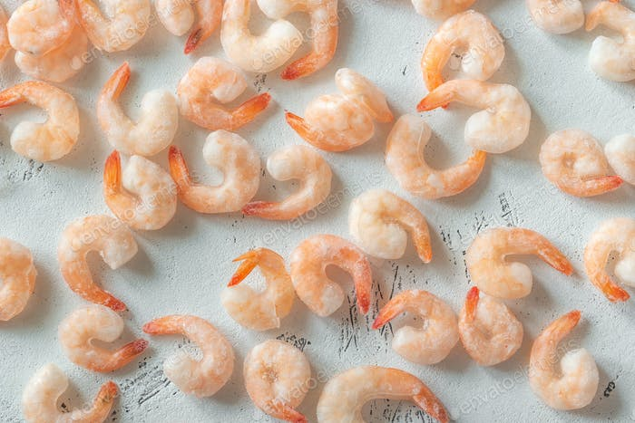 A bunch of frozen shrimp