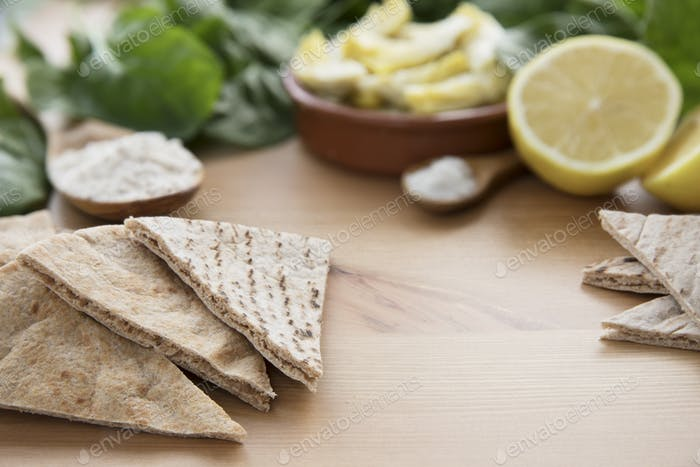 Pita Bread with Dip Ingredients