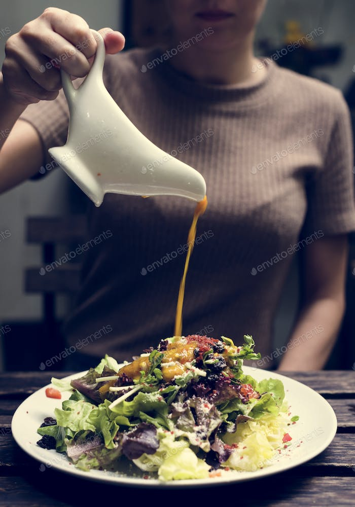 Salad dish with dressing