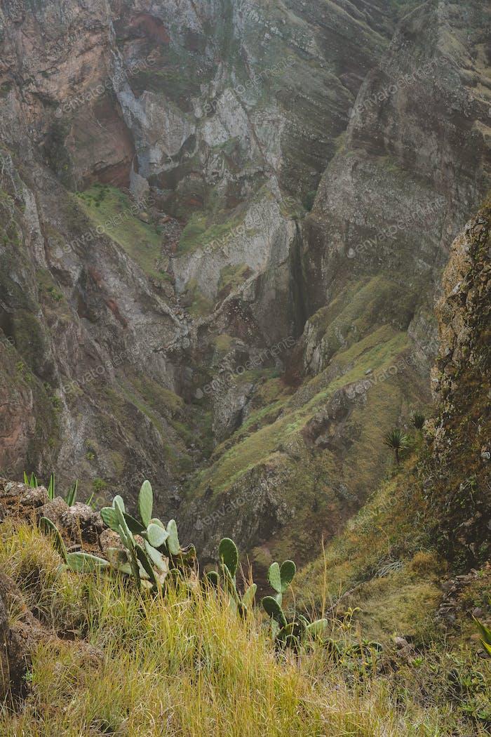 Coculi Santo Antao Island, Cape Verde Cabo Verde. Impressive mountain landscape, cultivation of
