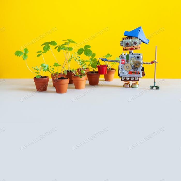 Робот садовник с садоводческими инструментами.