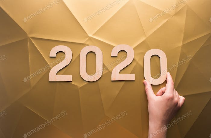 Planning of new 2020 year with wooden numbers