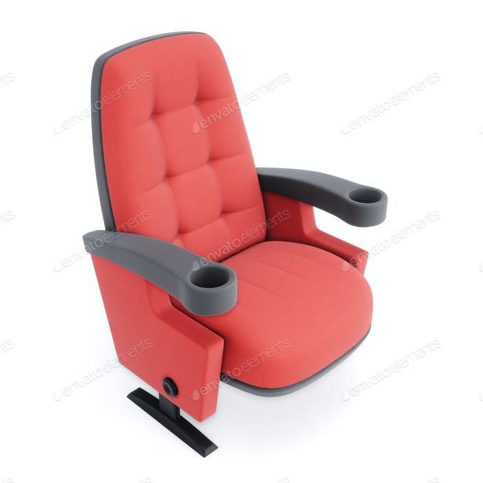 Kinostuhl isoliert auf weißem Hintergrund. Roter Sessel Nahaufnahme. 3D Illustration.