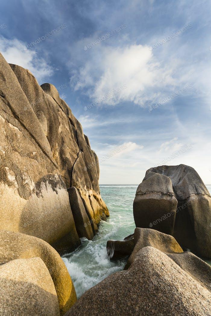 Waves Between Granite Rocks, Seychelles
