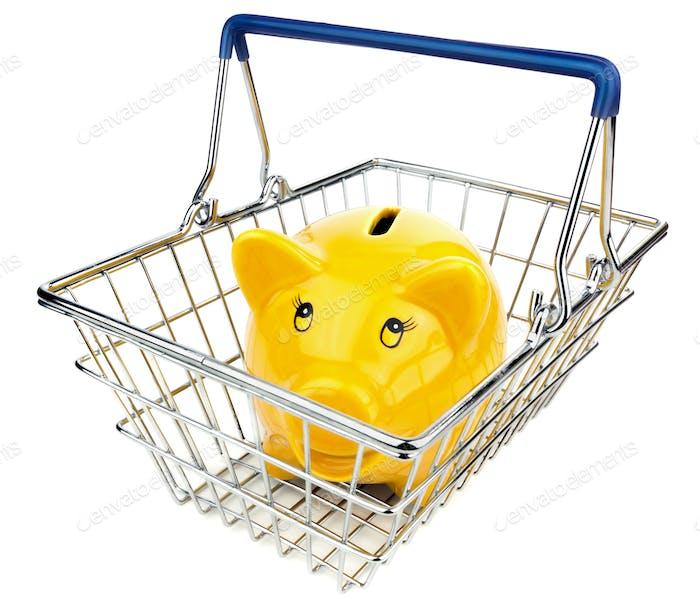 Hucha en cesta de la compra