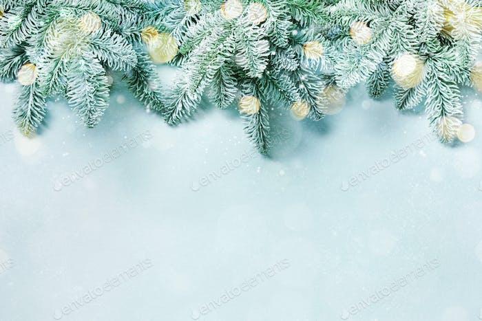 Christmas tree branches and bokeh lights