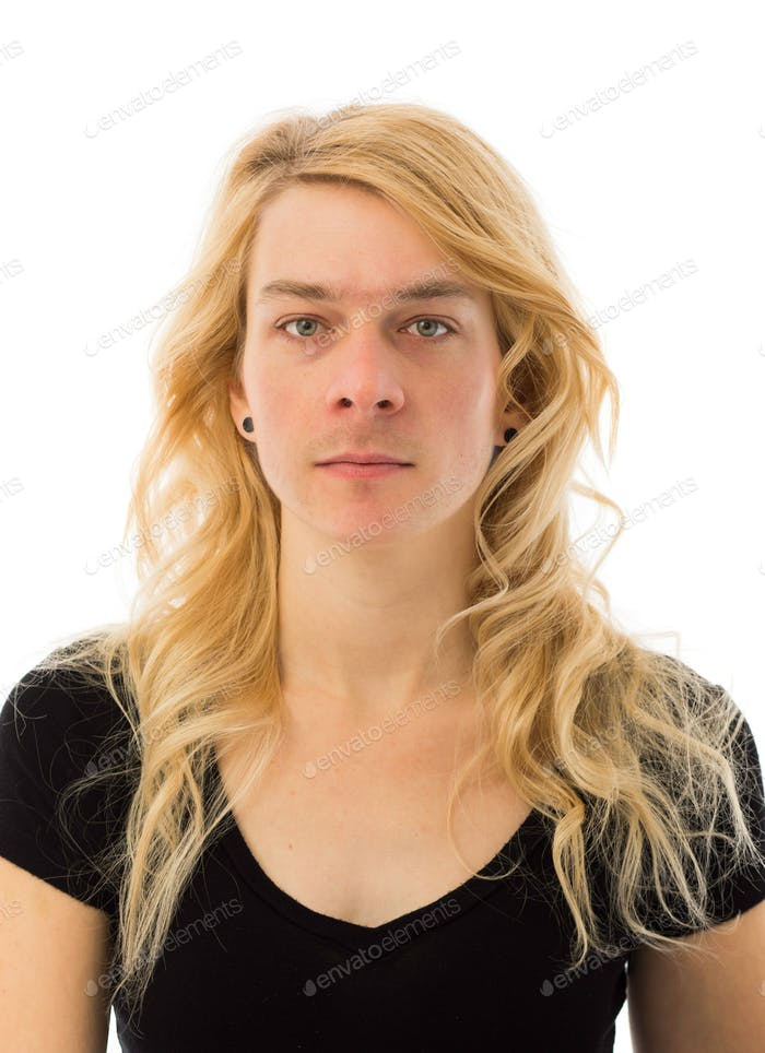 Portrait of a Man and Woman Mixed Together to Illustrate Transge