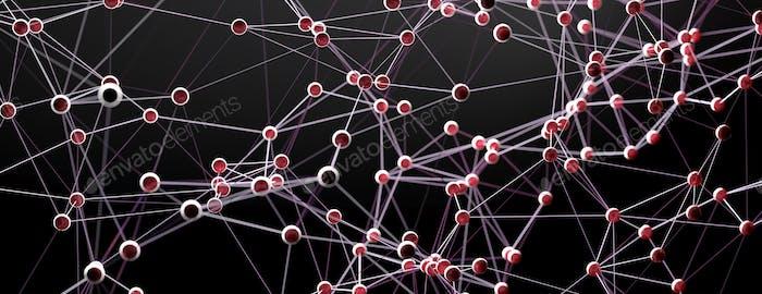 Estructura molecular, fondo científico abstracto. Ilustración 3D