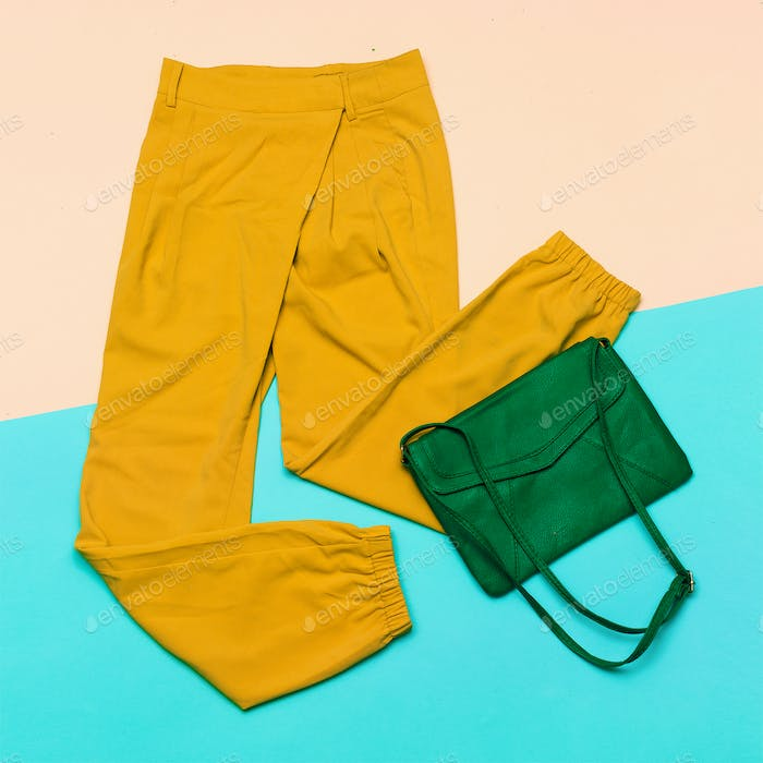 Pants & Bag. Summer colors. top view