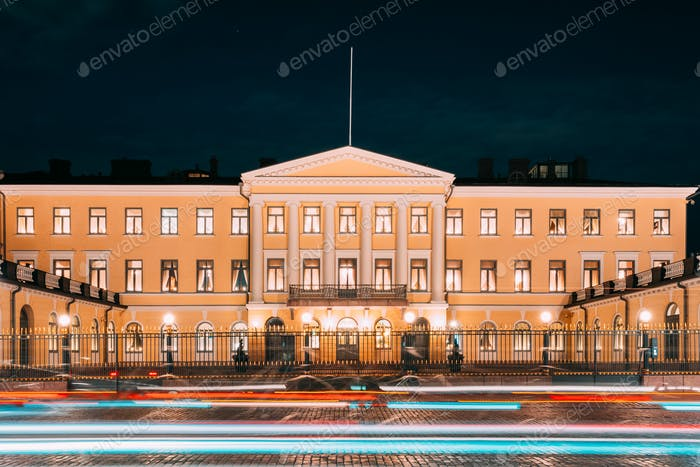 Helsinki, Finland. Presidential Palace In Evening Illuminations.
