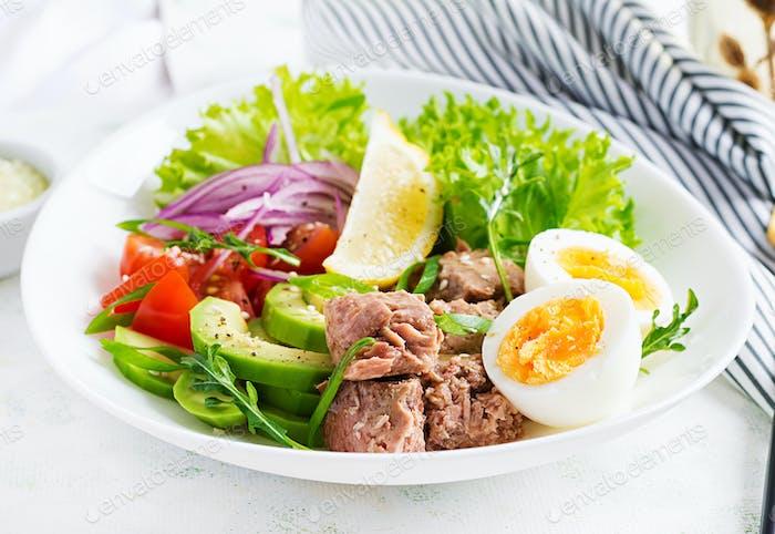 Tuna fish salad with eggs, lettuce, cherry tomatoes, avocado