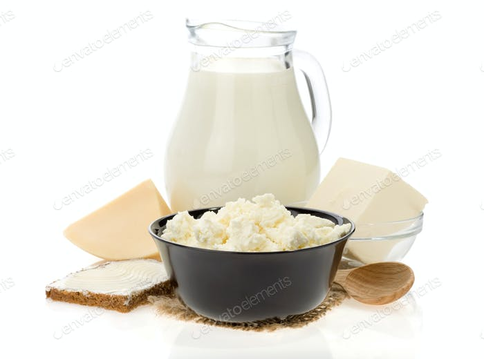 cheese and milk products isolated on white background
