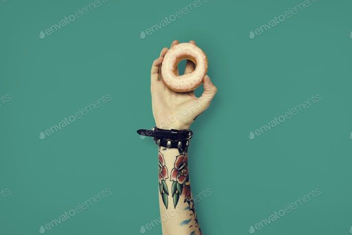 Tattoo Woman Dounut Doughnut Dessert Pastry Concept
