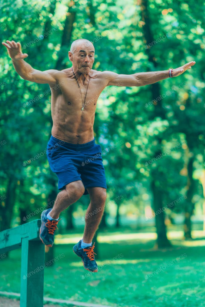 Thumbnail for Outdoor exercising senior