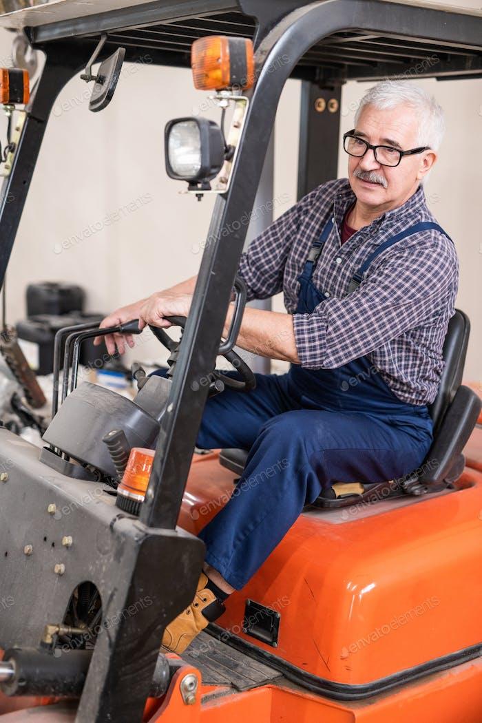 Forklift truck driver at work