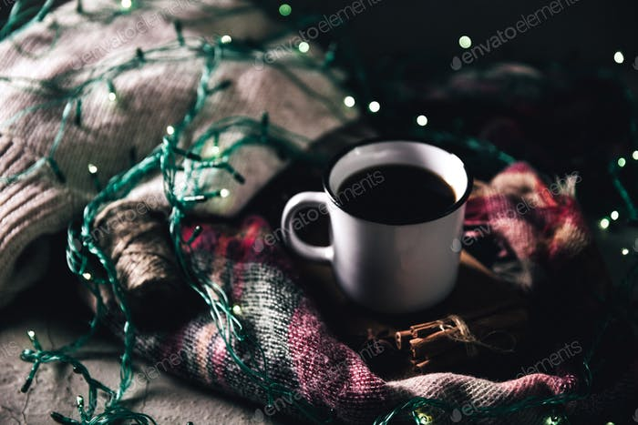 cup with herlands, Christmas and New Year, Cozy still life details in the living room