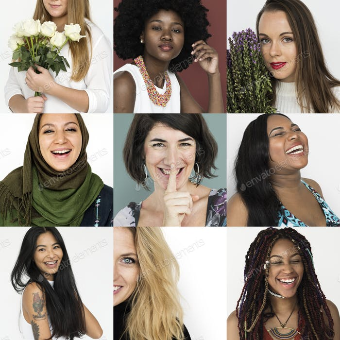 Diverse women activity femenism collection collage