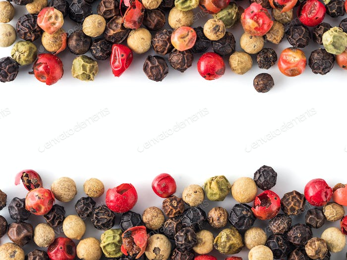 peppercorns background with copy space