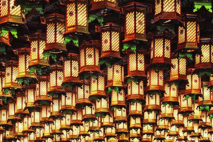 Asian Lanterns Suspended from a Ceiling