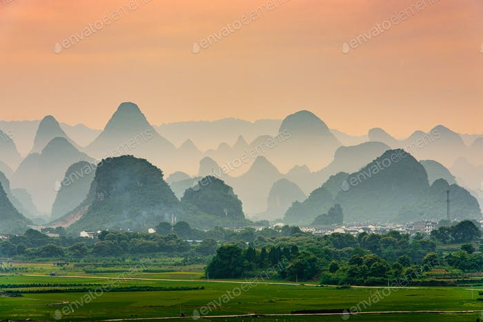 Guilin, China Karst Mountain landscape at Dusk