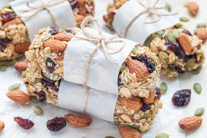 Granola energy bars with figs, oatmeal, almond, dry cranberry and pumpkin seeds