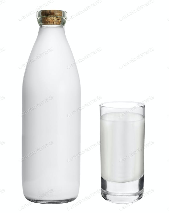 bottle with glass of milk isolated on white