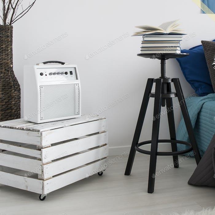 Minimalistic cabinet and vintage loudspeaker
