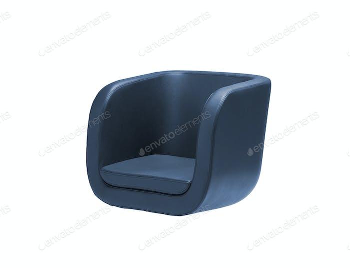 Dark blue armchair isolated on white
