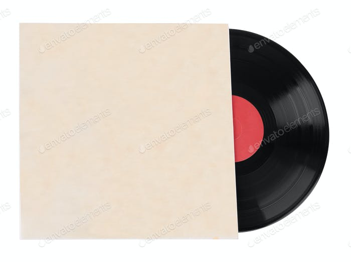 Old vinyl records isolated on white background