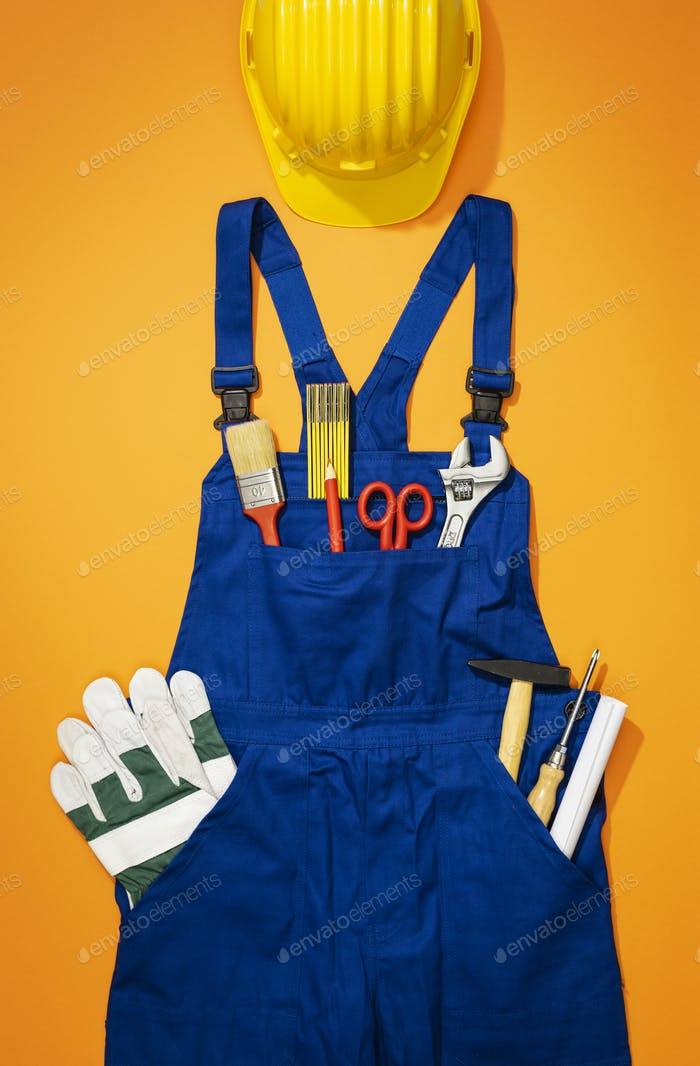 Repairman work uniform with tools and hardhat