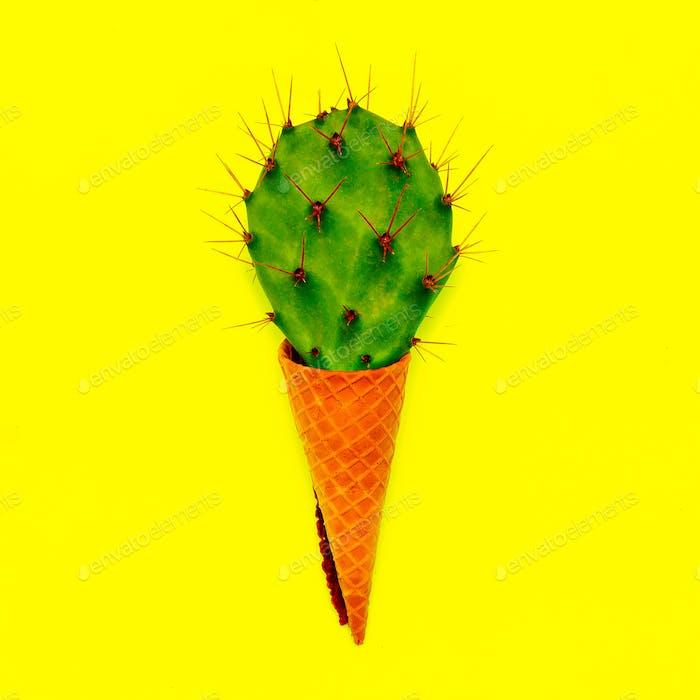 Cactus ice cream Minimal flatlay art