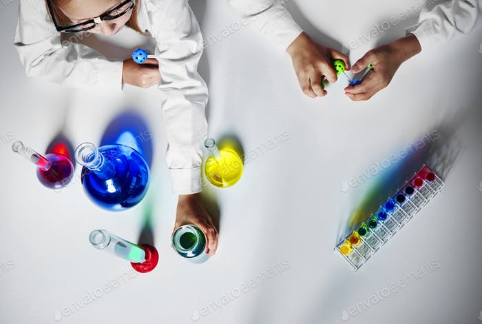Table with laboratory glassware