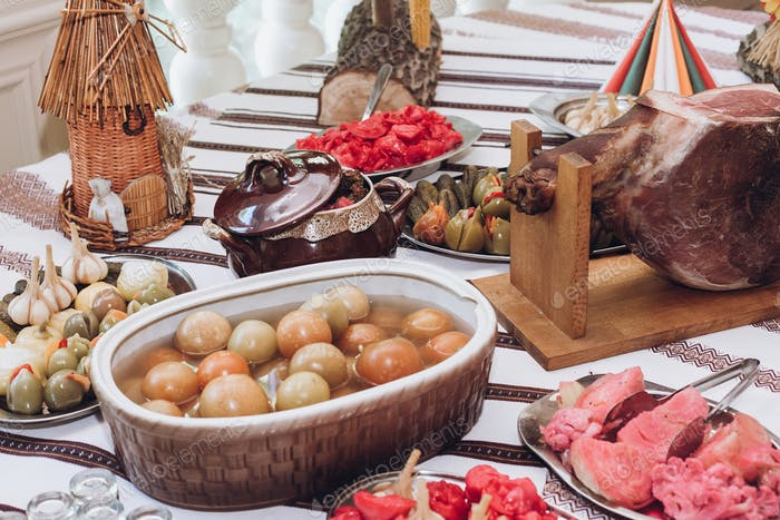 meat ham hamon and snacks  on beer table at wedding reception in restaurant