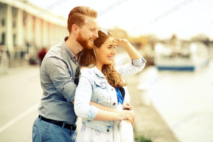 Beautiful couple's romance