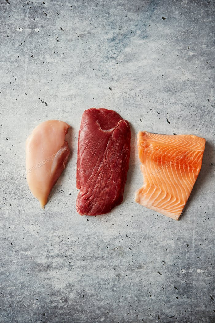 Fresh raw beef steak, chicken breast, and salmon fillet