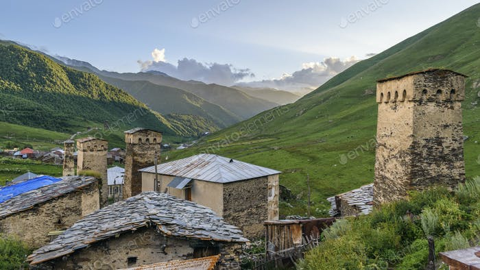 Buildings in Ushguli, a community of four villages located at the head of the Enguri gorge in
