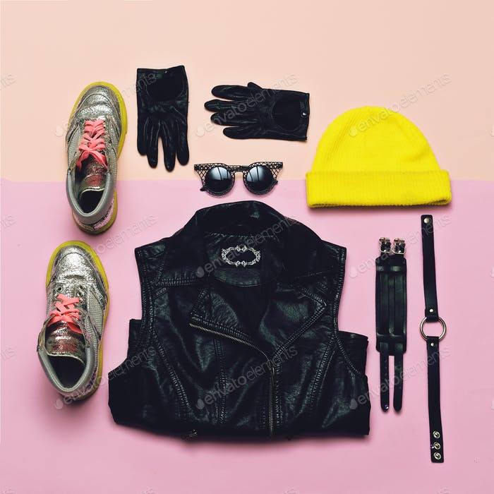 Fashionable Hipster Clothing. Top view. Style every day. Bright