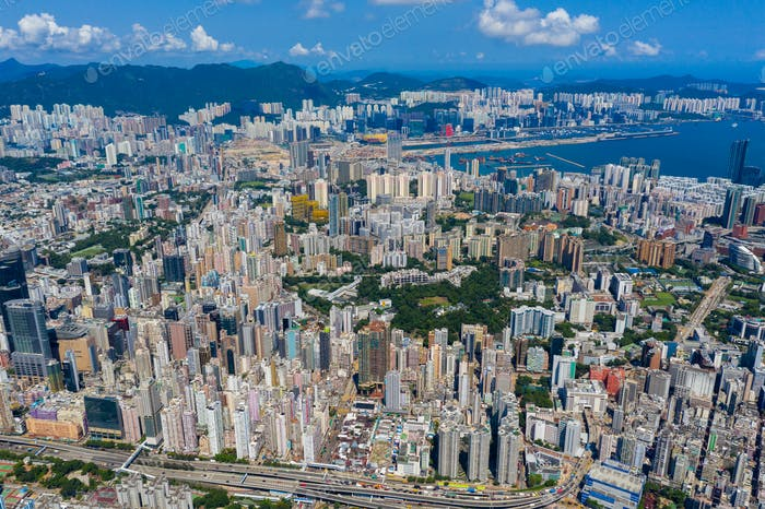 Mong Kok, Hong Kong 10 September 2019: Drone fly over Hong Kong city