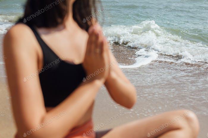 Yoga and meditation on beach concept
