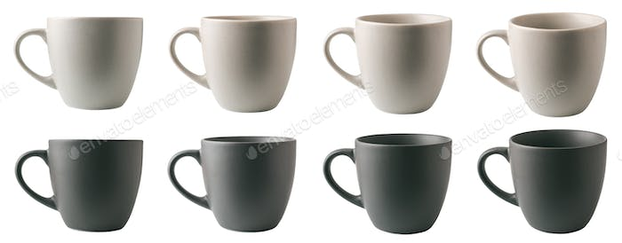 Light and dark gray cups in different angles