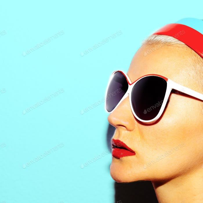 Model in stylish glasses Beach style Retro fashion vibes