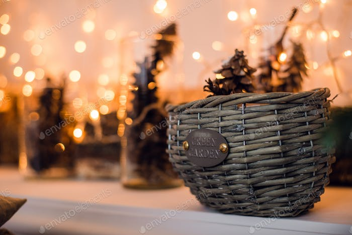 Branches of spruce with cones in the basket under fir tree. Christmas and New Year decoration card