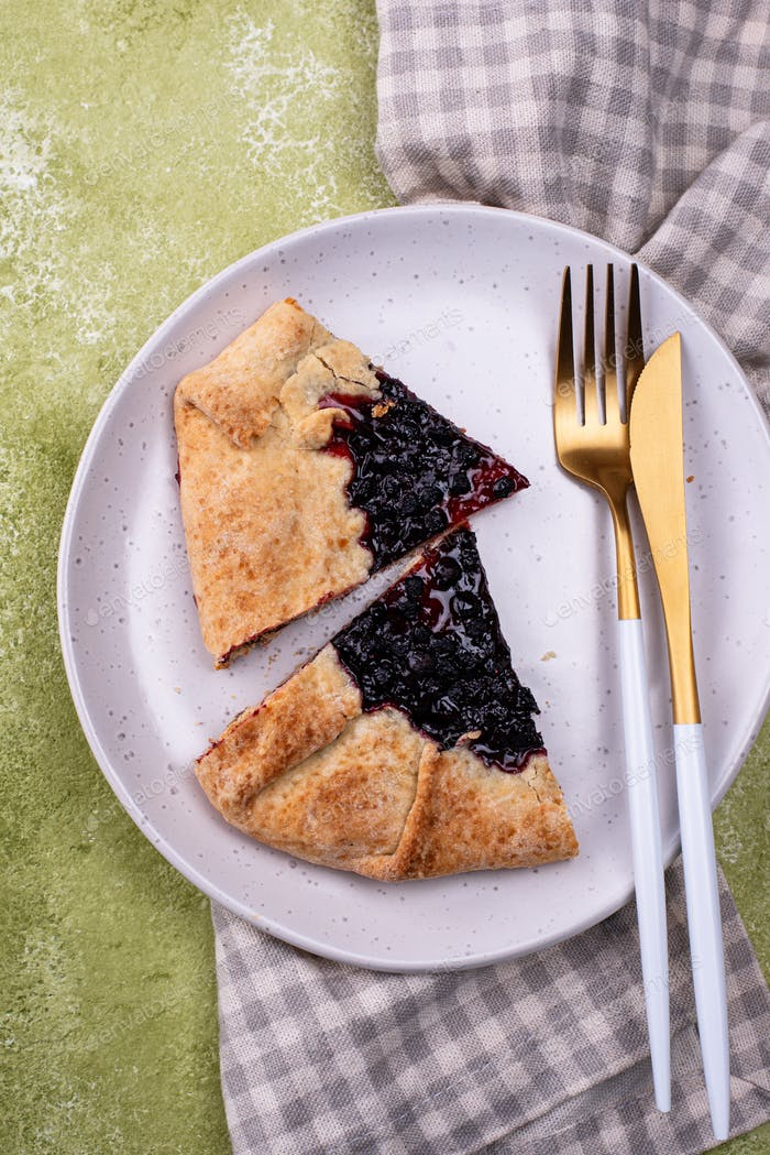 Sweet homemade galette pie with blueberry