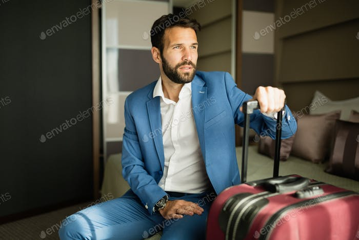 Businessman on business trip