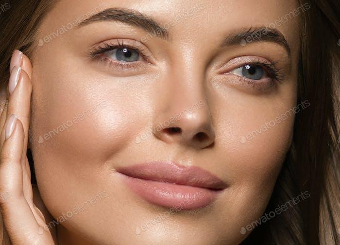 Long smooth brunette healthy hair woman portrait
