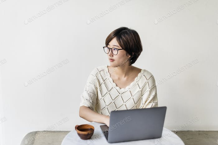 Woman Laptop Browsing Searching Social Networking Technology Con