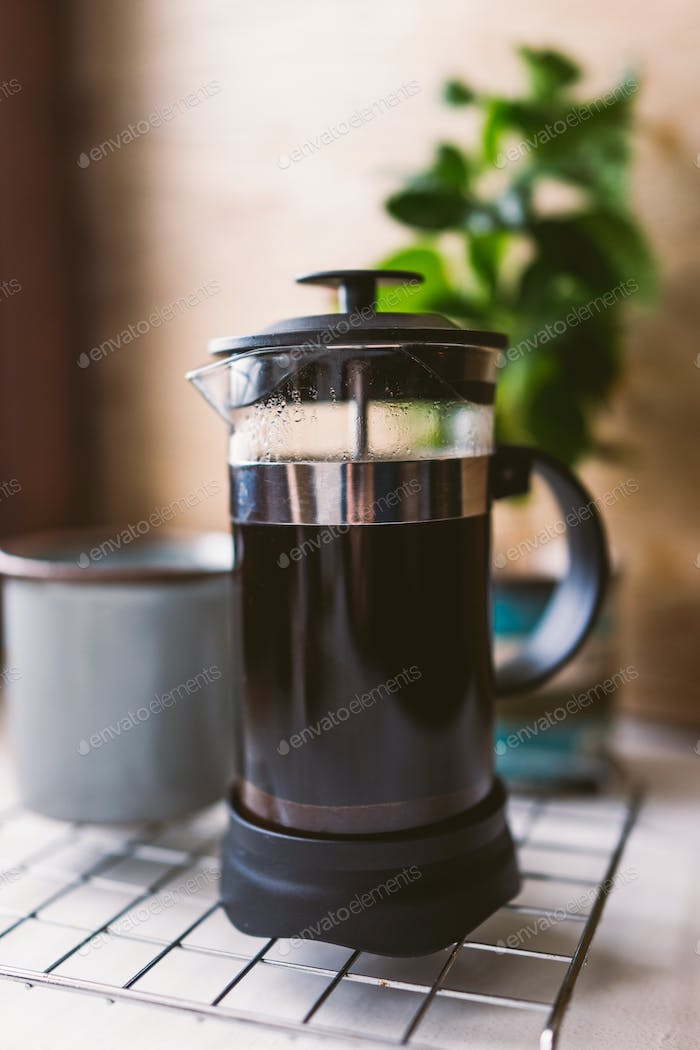 Making coffee in french press.