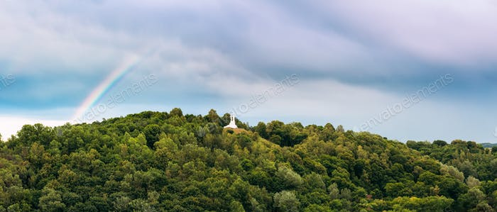 Vilnius Lithuania. Panoramic View Of Monument Three Crosses On S
