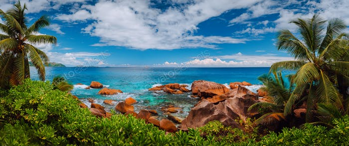 La Digue island rural panorama landscape. Exotic paradise nature of Seychelles