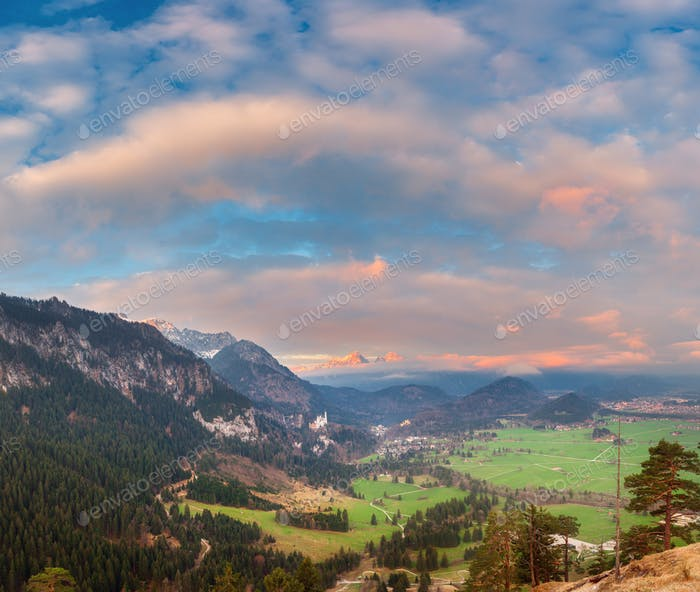 Beautiful colorful panoramic landscape with alpine mountains